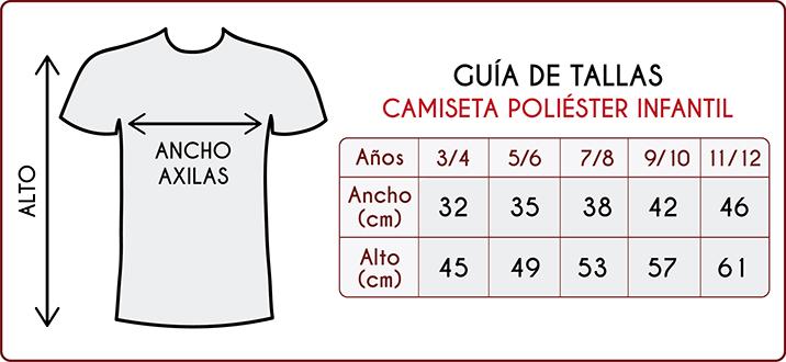 Tallas de las camisetas de poliéster infantiles