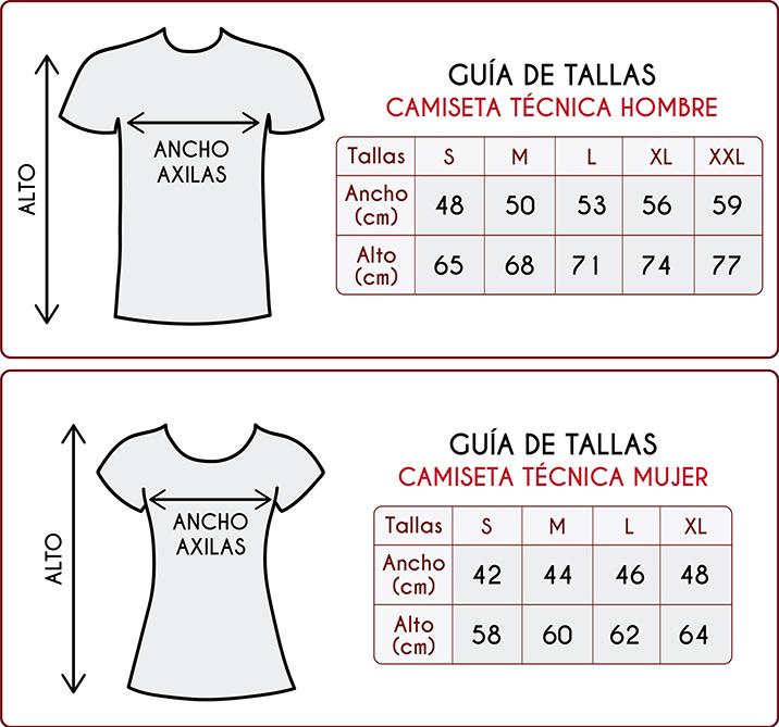 Tallas de las camisetas técnicas